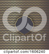 Clipart Of A Blank Frame Over A Golden Zig Zag Chevron Pattern Royalty Free Vector Illustration