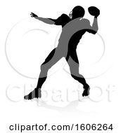 Poster, Art Print Of Silhouetted Football Player Throwing With A Reflection Or Shadow On A White Background