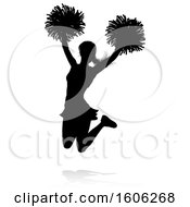 Clipart Of A Silhouetted Cheerleader With A Reflection Or Shadow On A White Background Royalty Free Vector Illustration by AtStockIllustration