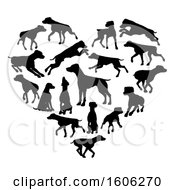 Clipart Of A Heart Made Of Black Silhouetted Pointer Dogs Royalty Free Vector Illustration