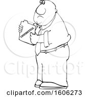 Clipart Of A Cartoon Lineart Black Business Man Holding A Confidential File Royalty Free Vector Illustration