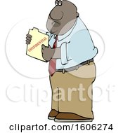 Cartoon Black Business Man Holding A Confidential File