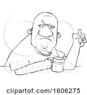 Clipart Of A Cartoon Lineart Grumpy Old Black Man Smoking A Cigarette Over Coffee Royalty Free Vector Illustration