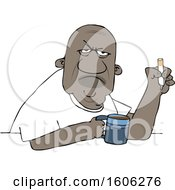 Clipart Of A Grumpy Old Black Man Smoking A Cigarette Over Coffee Royalty Free Vector Illustration by djart
