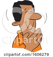 Clipart Of A Cartoon Black Man Giggling And Covering His Mouth Royalty Free Vector Illustration