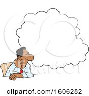 Clipart Of A Black Business Man Daydreaming Under A Cloud At His Desk Royalty Free Vector Illustration