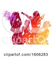 Clipart Of A Silhouetted Group Of Party People Dancing In Colorful Grunge Royalty Free Vector Illustration