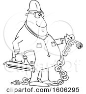Clipart Of A Cartoon Lineart Black Male Construction Worker Holding An Air Nailer Royalty Free Vector Illustration
