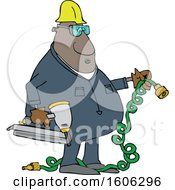 Cartoon Black Male Construction Worker Holding An Air Nailer