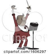 Cartoon Black Male Music Conductor Holding Up An Arm And Wand