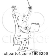 Clipart Of A Cartoon Lineart Black Male Music Conductor Holding Up An Arm And Wand Royalty Free Vector Illustration