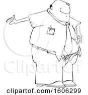 Clipart Of A Cartoon Lineart Black Business Man Giving Him A Diabetes Insulin Shot Royalty Free Vector Illustration