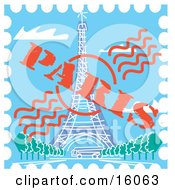 Postage Stamp With The Eiffel Tower In Paris France