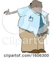 Cartoon Black Business Man Giving Him A Diabetes Insulin Shot