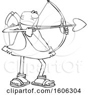 Cartoon Lineart Black Male Cupid Shooting An Arrow