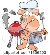 Cartoon Pig Wearing A Bbq Apron