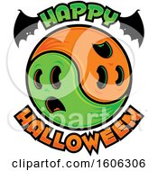 Happy Halloween Greeting With Bat Wings And Yin Yang Ghosts