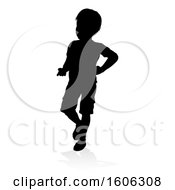 Clipart Of A Silhouetted Child With A Shadow On A White Background Royalty Free Vector Illustration
