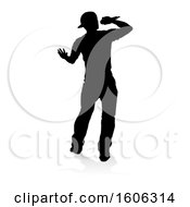 Clipart Of A Silhouetted Male Singer With A Reflection Or Shadow On A White Background Royalty Free Vector Illustration