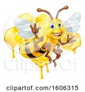 Poster, Art Print Of Happy Bee Flying Over Honeycombs