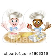 Clipart Of Boys Making Frosting And Cookies Royalty Free Vector Illustration