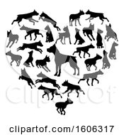 Clipart Of A Heart Made Of Black Silhouetted Pitbull Or Staffordshire Terrier Dogs Royalty Free Vector Illustration