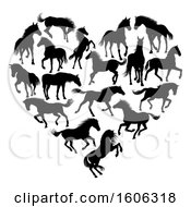 Clipart Of A Heart Formed Of Black Silhouetted Horses Royalty Free Vector Illustration