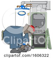 Cartoon Black Furnace Repair Man Bending Over While Working On A Piece