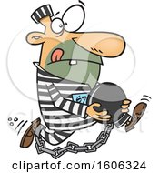 Clipart Of A Cartoon White Male Robber Holding His Ball And Escaping Royalty Free Vector Illustration