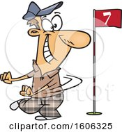 Cartoon White Man Doing A Happy Golf Dance