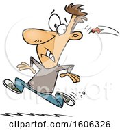 Clipart Of A Cartoon White Man Running Away From The Inevitable Fall Royalty Free Vector Illustration
