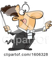 Clipart Of A Cartoon White Male Maestro Music Conductor Royalty Free Vector Illustration