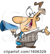 Clipart Of A Cartoon Enthusiastic White Business Man Marketing With A Megaphone Royalty Free Vector Illustration