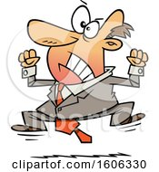 Clipart Of A Cartoon White Business Man Throwing A Tantrum Royalty Free Vector Illustration