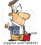 Cartoon White Man Hitchhiking And Holding A Gas Can