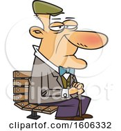 Cartoon White Senior Man Sitting On A Park Bench