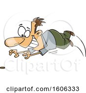 Clipart Of A Cartoon White Male Penny Pincher Diving For A Coin Royalty Free Vector Illustration
