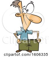 Clipart Of A Cartoon Skinny White Man Wearing His Fat Pants And Showing How Much Weight He Has Lost Royalty Free Vector Illustration