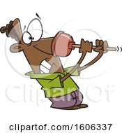 Cartoon Black Man Struggling With A Bad Plunger On His Nose