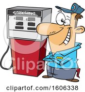 Cartoon Happy White Male Gas Station Pump Attendant