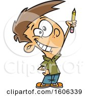 Clipart Of A Cartoon White Boy Classroom Warrior Holding Up A Pencil Royalty Free Vector Illustration by toonaday
