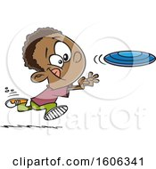 Clipart Of A Cartoon Black Boy Chasing A Frisbee Royalty Free Vector Illustration