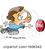 Clipart Of A Cartoon White Boy Rushing To Push A Panic Button Royalty Free Vector Illustration