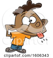Clipart Of A Cartoon Black Boy Making A Teasing Face Royalty Free Vector Illustration