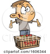 Clipart Of A Cartoon White Boy Standing On A Soapbox Royalty Free Vector Illustration