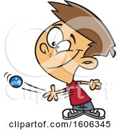 Clipart Of A Cartoon White Boy Tossing A Ball Royalty Free Vector Illustration