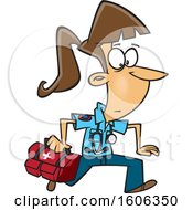 Clipart Of A Cartoon Running White Female EMT With A First Aid Kit Royalty Free Vector Illustration