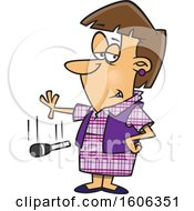 Clipart Of A Cartoon White Woman Dropping The Mic Royalty Free Vector Illustration