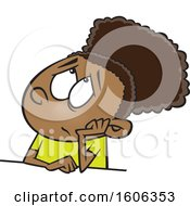 Clipart Of A Cartoon Black Girl Looking Bored Royalty Free Vector Illustration