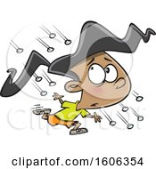 Clipart Of A Cartoon Girl Running In A Hail Storm Royalty Free Vector Illustration